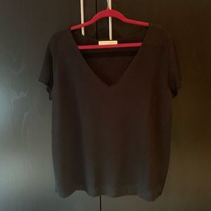 Project Social T Textured-Knot V-Neck Tee